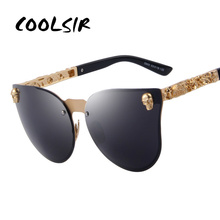 COOLSIR Fashion Women Gothic Eyewear Skull Frame Metal Temple Oculos de sol UV400