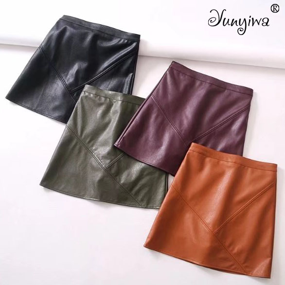 Yuuyiwa A-Line Above Knee Mini Women Pu Faux Leather Skirts Plus Size Jupe Femme Faldas Mujer
