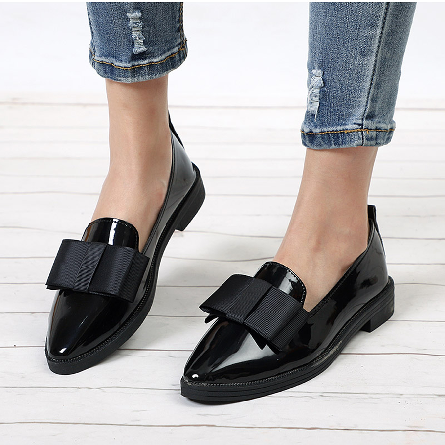 Dwayne Spring Flats Women Shoes Bowtie Loafers Patent Leather Elegant Low Heels Slip On Footwear Female Pointed Toe Thick HeelDwayne Spring Flats Women Shoes Bowtie Loafers Patent Leather Elegant Low Heels Slip On Footwear Female Pointed Toe Thick Heel