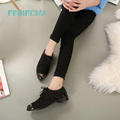 Marca Oxford zapatos para mujeres Otoño de Tacón Bajo Para Mujer Oxfords Zapatos de Cuero de Gamuza Pisos Zapato con cordones de zapatos Planos Zapatos de purpurina