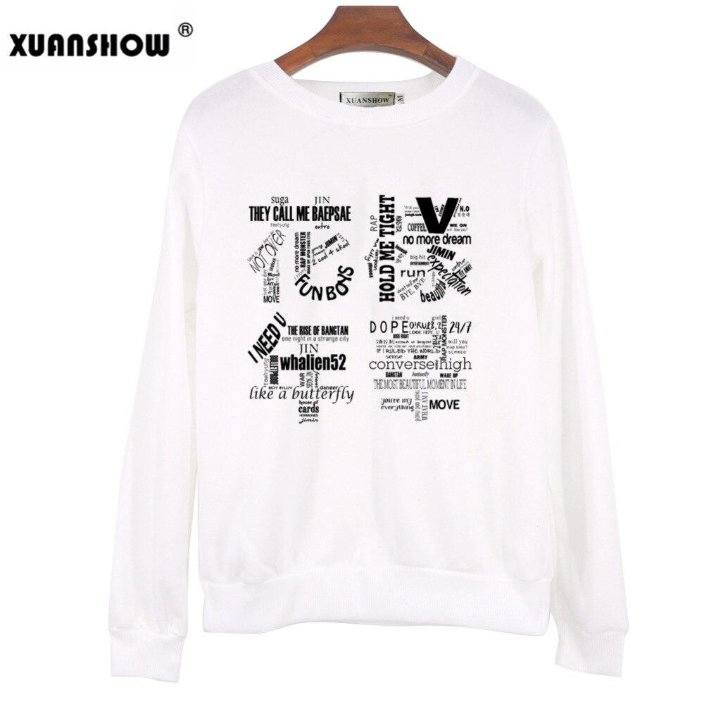 XUANSHOW 2018 Women Bangtan Boys Album Fans Clothing Gray White Black Color Casual Letters Printed Tops bts Hoodie Clothes Bluzy 2
