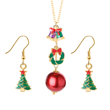 Christmas Gift Women Trendy Santa Claus Donut Drop Earring Cute Ball Deer Pendant Chain Necklace Christmas Necklace Jewelry Set merry christmas santa claus jewelry sets lovely enamel father christmas dangle earrings ring necklace bracelets jewelry set gift