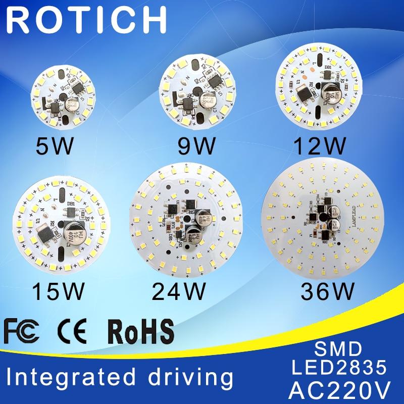 High quality 2835 SMD PCB LED Diode,Integrated driving,AC 220V 5w 7w 9w 12w 15w 24w 32w High Brightness Light Source Panel