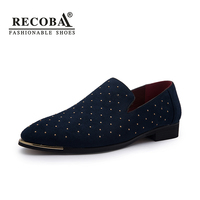 Men Luxury Brand Gold Spike Big Size Black Navy Suede Leather Penny Loafers Moccasins Slip Ons
