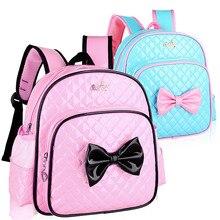 Kids Princess Girls Kindergarten Backpack Children Pink Cute PU Leather Bowknot School Backpacks Daypack Mochila Bag