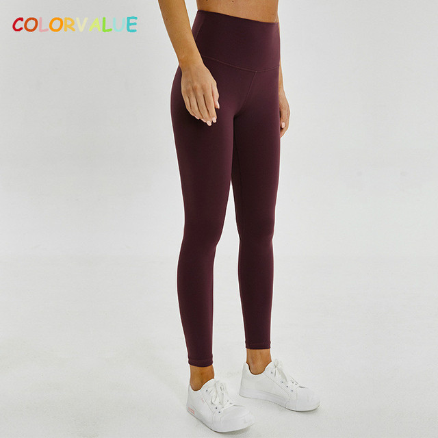 $ US $19.91 Colorvalue Plus Size Hip-Up Sport Fitness Pants Women Solid High Waisted Gym Running Tights Stretchy Nylon+Spandex Yoga Pants