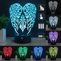 H Y 3D Lamp Angel wings Children's nightlight Visual Led Night Lights Illusion Lamparas With controller and without controller