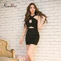 Kinikiss сексуальные женщины короткие черные bodycon mini dress fashion club девушка bandage dress выдалбливают глубокий v шеи женщины белый dress 2017