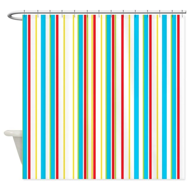 Aqua Red Yellow And Cream Vertical Stripes Show Decorative Fabric Shower Curtain