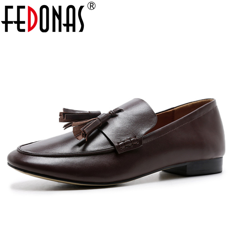 FEDONAS Retro Women Black Brown Flats Heels Shoes Tassels Round Toe Comfortable Casual Shoes Woman Genuine Leather Flats Shoes fedonas retro black brown women flats heels shoes round toe buckles slip on new spring casual shoes women genuine leather shoes