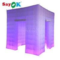 2,5 м/8.2ft куб надувные Photo Booth фон для фотосъемки фото киоск с светодиодный осветительные приборы и воздуходувки для вечерние свадебные Нью Йо