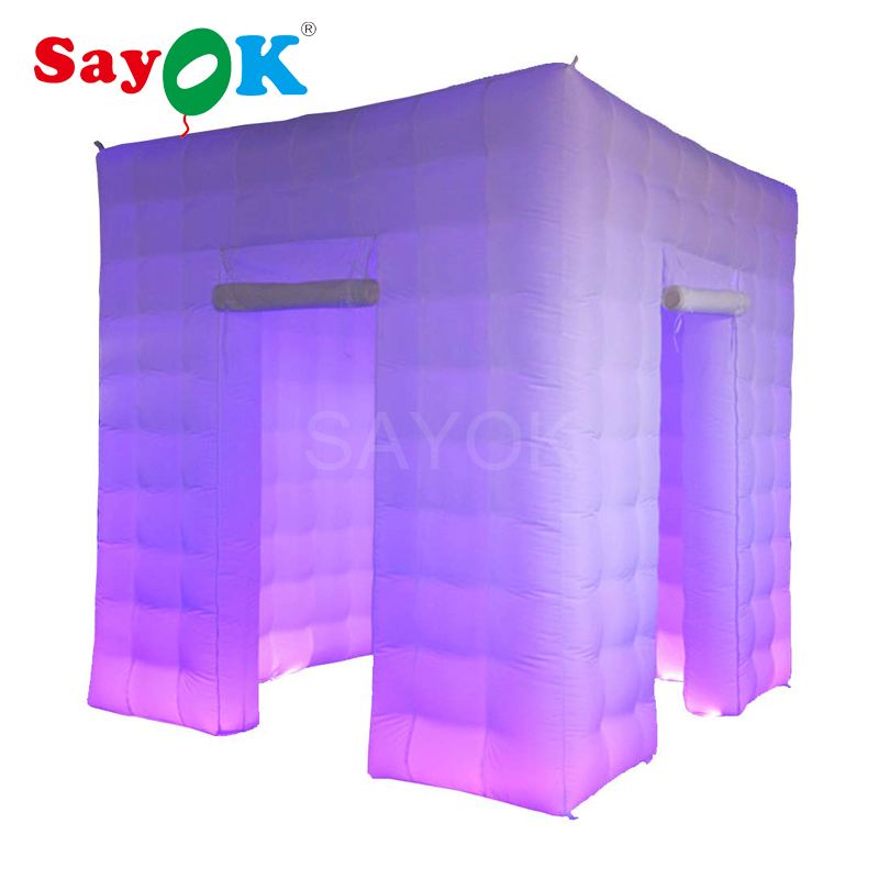 2.5m/8.2ft Cube Inflatable Photo Booth Photo Backdrop Photo Kiosk with LED Lights&Blower for Party Wedding (1/2/3 Doors)-in Party Backdrops from Home & Garden    1