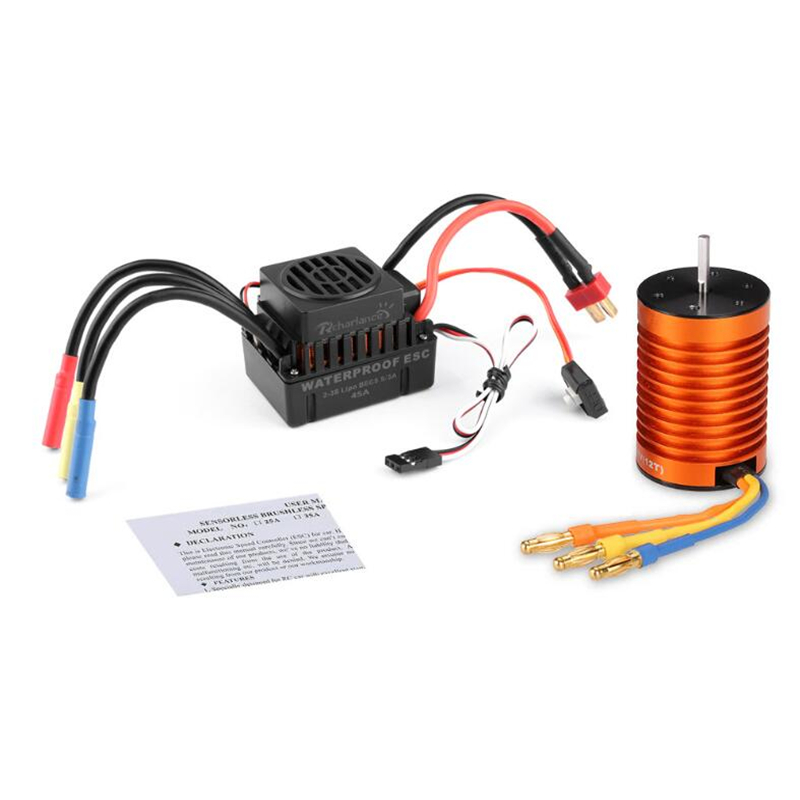 F540 3300KV Brushless Motor +45A Waterproof Brushless ESC Set for 1:10 RC CarF540 3300KV Brushless Motor +45A Waterproof Brushless ESC Set for 1:10 RC Car
