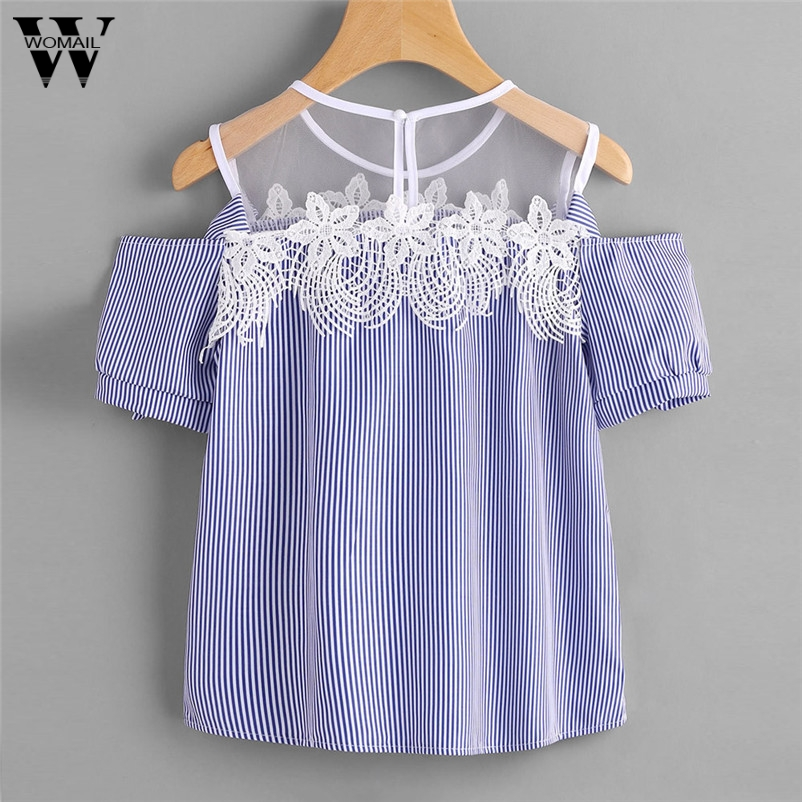 Trendy Style Shirt women Broadclot Chiffon Sleeveless Blouses Cold Shoulder Clothes Ruffle Elegant Vintage Drop Shipping Gifts