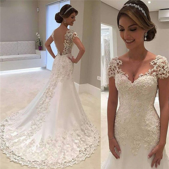 69b578c149 2017 Simple White Lace Wedding Dresses Cap Sleeves Backless Bridal Gowns  Vestido de Novia Short Sleeves 2017 Lace Wedding Dress