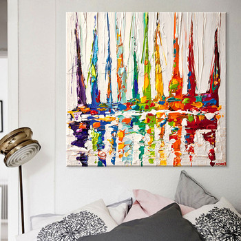 Hand painted boat Canvas Oil painting Wall Pictures for Living room wall decor art canvas painting palette knife boat 43