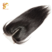 AOSUN HAIR 4x4 Middle Part Closure Brazilian Straight Hair Natural Color Extensions Remy Hair 8 20 inch Swiss Lace Closure