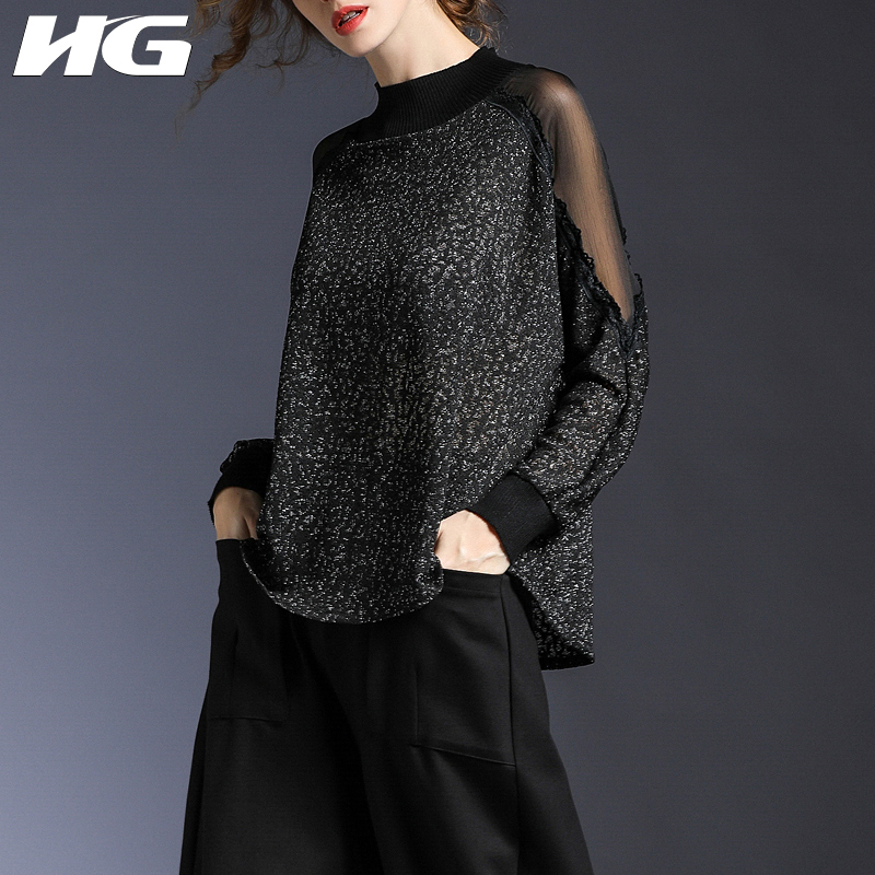 [HG] Europe Fashion Women 2019 Spring Summer Mandarin Collar Full Sleeve Solid Color Hollow Out Casual Knitted Sweated LYH2730