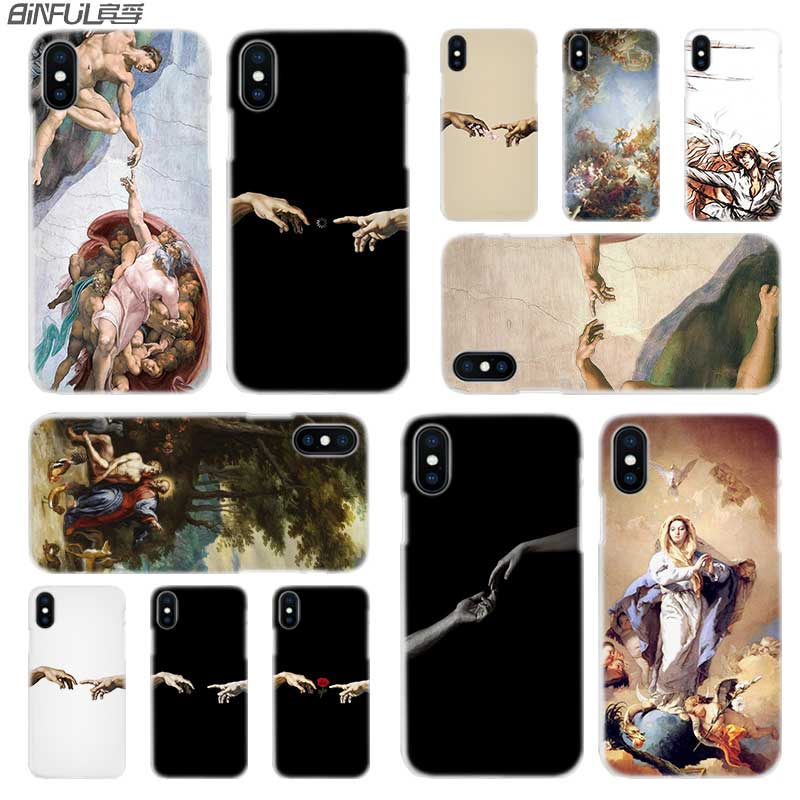 BINFUL iphone case cover transparent for iPhone X XR XS Max 8 7 6s 6 Plus 5 5s 5.1 6.1 6.5 2019 4s Creation Adam