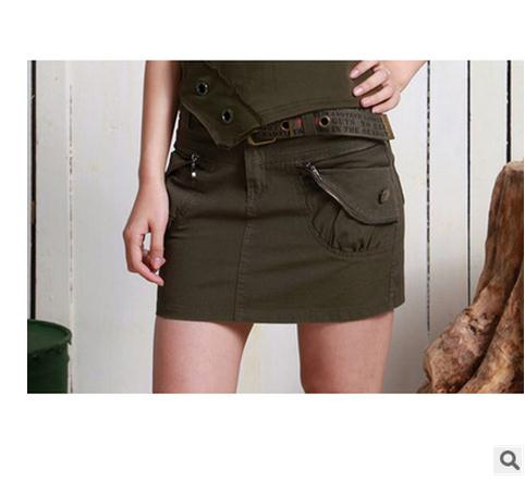 206 Summer Womens Casual Slim Personalized Army Skirts ...