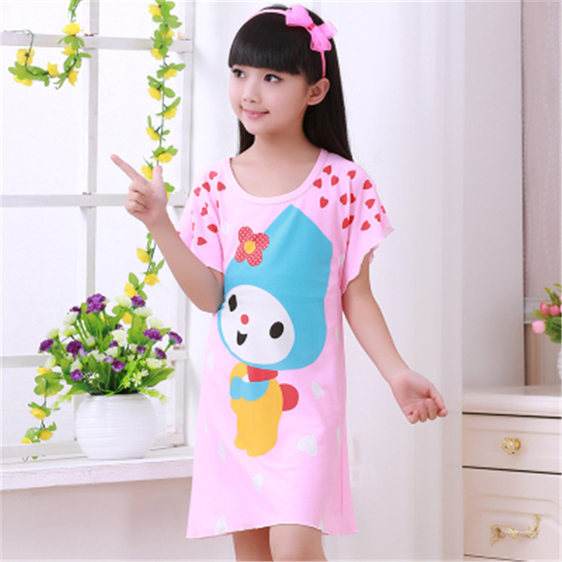 2-12 T Baumwolle Kinder Mädchen Nachthemden Neue Pyjama Kleid Teenager Homewear Nachthemd Kinder Nachtwäsche Für Baby Mädchen Sommer Kleidung