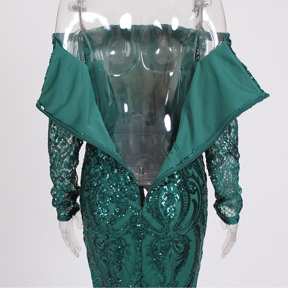 Vert Paillettes robe maxi es Outre De L'épaule Slash Cou robe de fête robe maxi élégante Hiver robe de soirée Paillettes Robe - 6