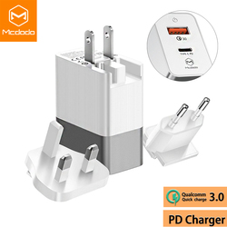 Mcdodo USB QC 3.0/USB-C PD Fast Charger EU US UK Plug 3 in 1 Triple Universal Travel Charger 3A Wall Adapter for iPhone Samsung