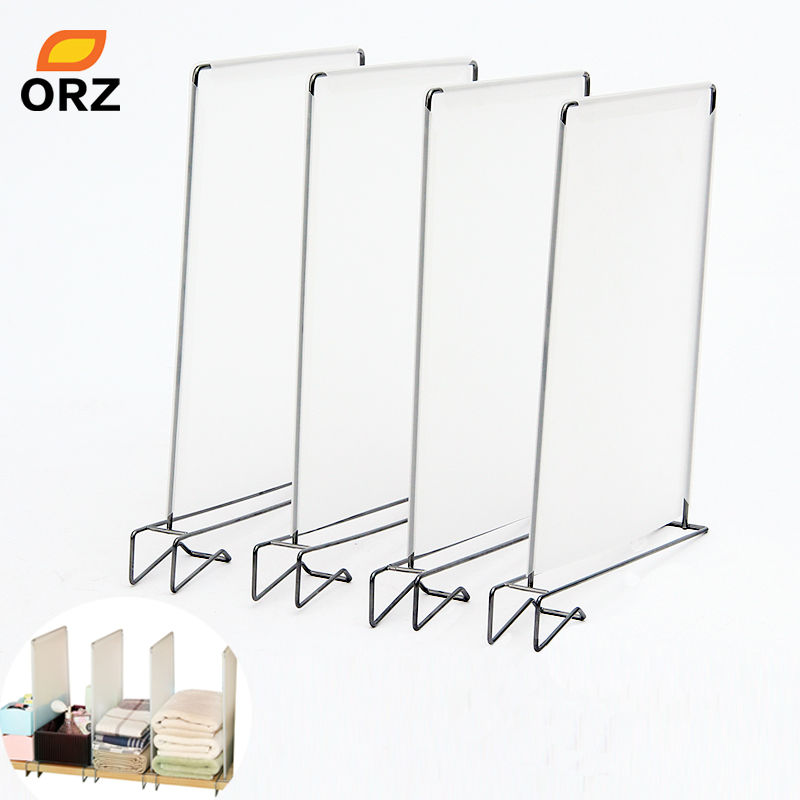 ORZ 4pcs Closet Divider Shelf Space Saving Shelves Wire Design PP Wardrobe Chest Partition Clothes Storage Rack Drawer Organizer