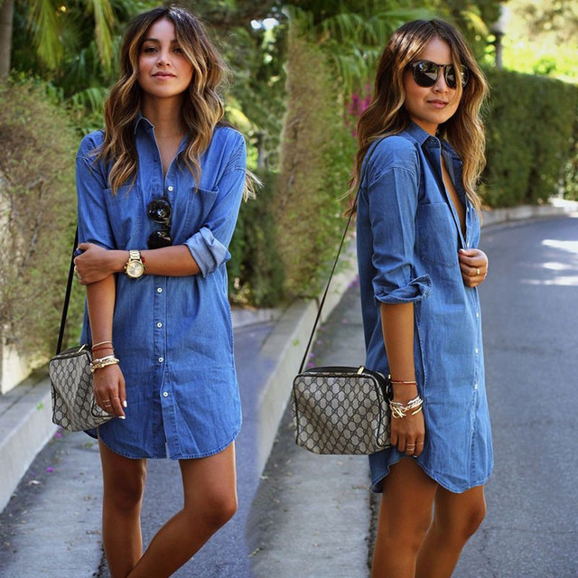 2017 fashion blue denim lente zomer dress vrouwen casual losse rechte dress lange mouwen turn-down kraag jurken plus size