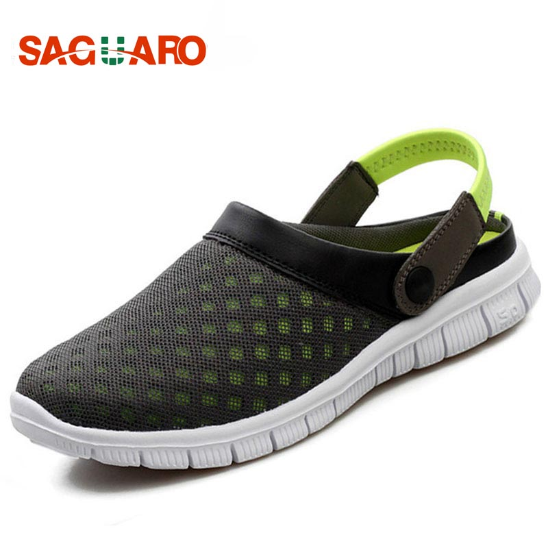 SAGUARO Beach Shoes Men Summer Breathable Mesh Slip-on Outdoor Sandals Men Sport Slippers Flip Flops Zapatillas Hombre Deportiva