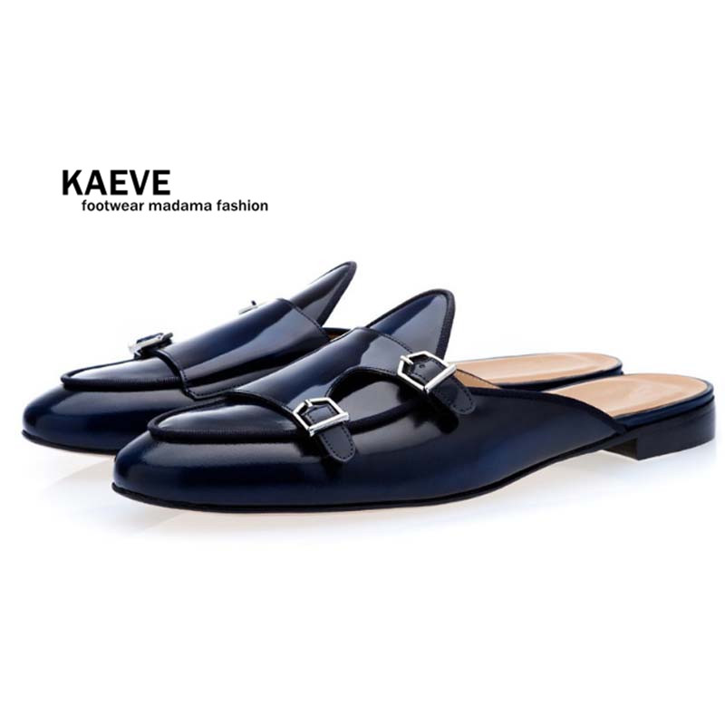 Kaeve Men Navy Blue Buckle Shoes Slip