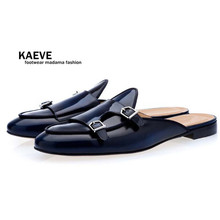 Kaeve Men Navy Blue Buckle Shoes Slip-on Mules Hand-polished Loafers for EU39-EU46 Customized Color Casual