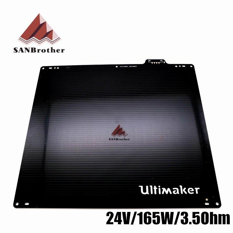 Ultimaker2 UM2 + cama calentada 24 V Placa de aleación de aluminio mesa de impresión para 3D impresora