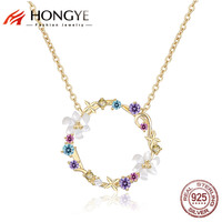 HONGYE JEWELRY Bohemia Women 925 Silver Gold Chain Colorful Crystal Shell Flower Anadem Chokers Necklace Happy Best Friend Gift