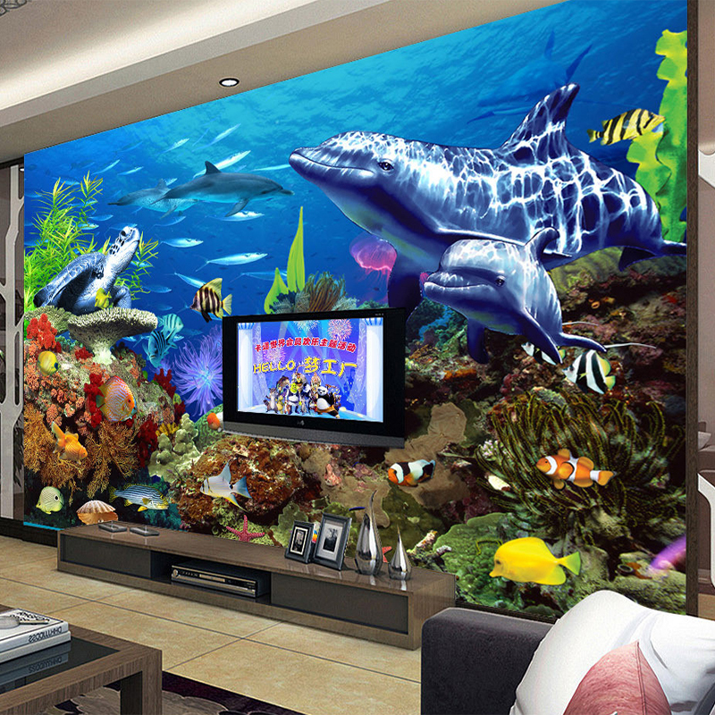 Custom Size 3D Non-woven Mural Wallpaper for Children's Room Decor Cartoon Underwater World Aquarium TV Background Wall Paper image