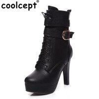 Coolcept Size 34 43 Women Thick High Heels Winter Boots Women Cross Strap Side Zip Shoes