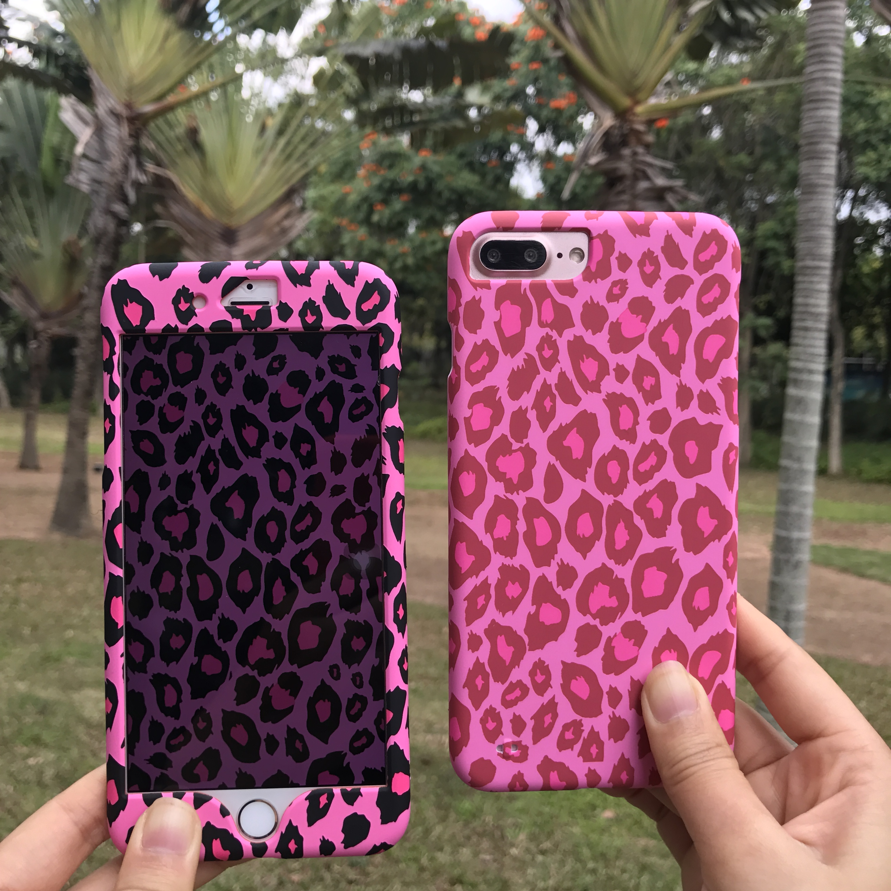 pink leopard front and back case for iphone 7 7 plus 360 full body protect cover for iphone 6. Black Bedroom Furniture Sets. Home Design Ideas