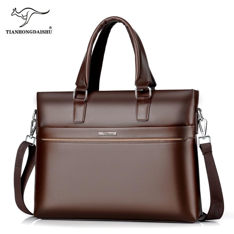 2018 Men Leather Briefcase Men's Casual Business Crossbody Handbag Male Laptop Computer Briefcases Man's Shoulder Messenger Bags