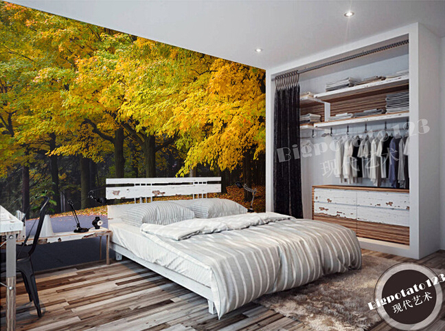 "Custom 3D murals,beautiful romantic autumn gold leaves fall all over the floor, living room sofa TV bedroom background wallpaper tyr sumatra all over 3"" racer"