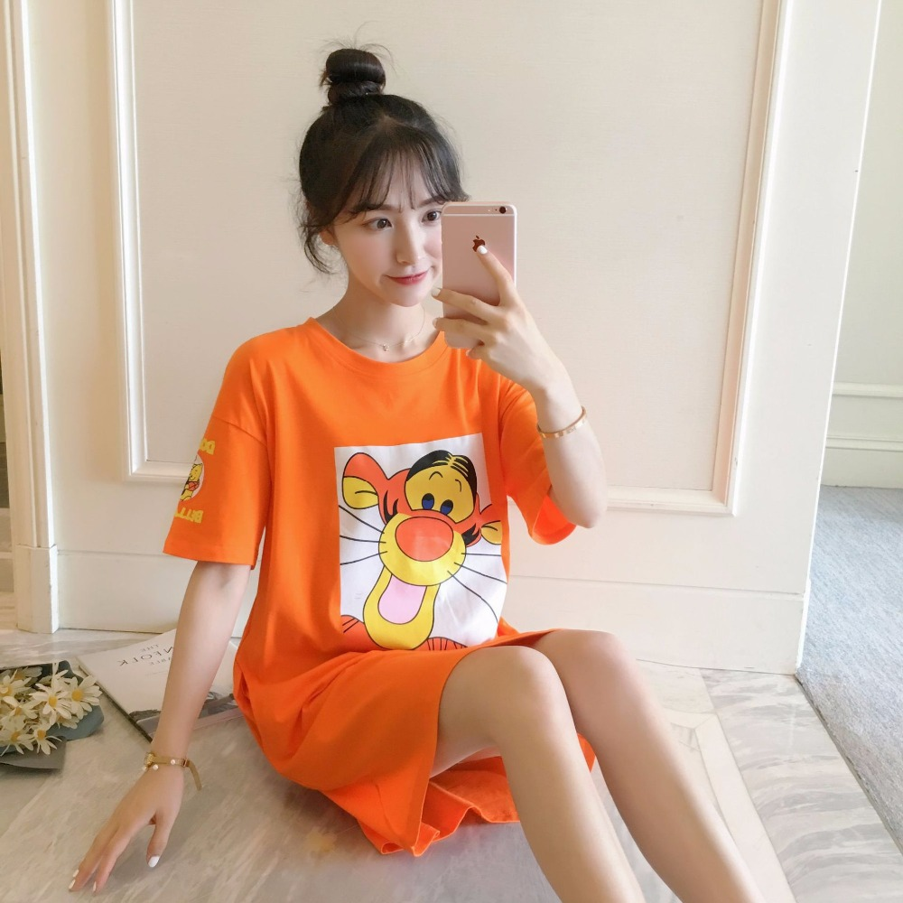 2018 Women Cotton Sleeping Nightgrown Shirt Short Sleeve Sweet Pajamas Short Sleeve Cotton Summer Can Wear Home Clothes