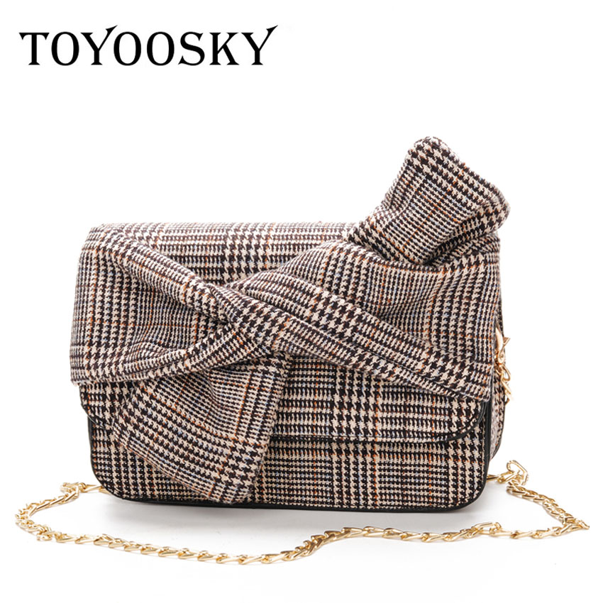 500f168a6e42 TOYOOSKY Fashion Wool Plaid Luxury Handbags Women Crossbody Bags Designer  Bow Shoulder Bags Ladies Party Purse And Clutches-in Shoulder Bags from  Luggage ...