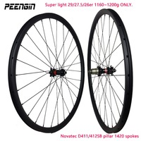 1160g Ultra light 26er 27.5er mtb carbon wheel 29er XC mountain wheelset 1200g novatec D411 Straight pull hub pillar 1420 spoke