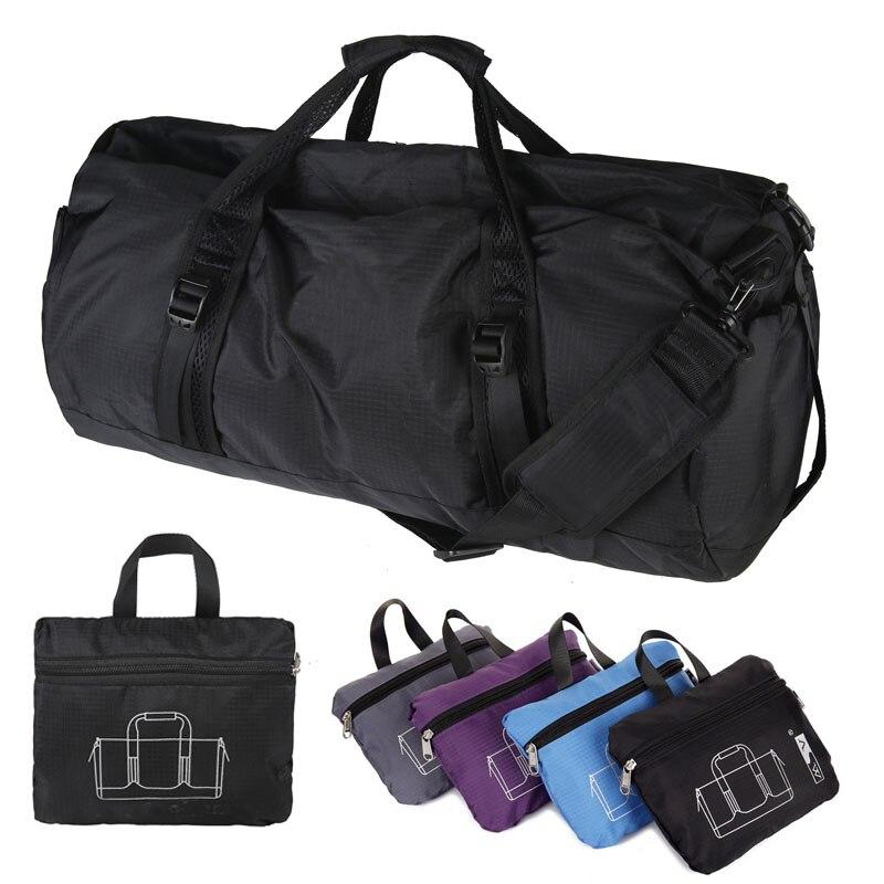 8a9888844b Foldable Nylon Portable   Single Shoulder Bags Cylindrical Gym Sports Bags  Barrel Fitness Bag Handbag Blue Black Gray Purple. Anniversary Sale ...