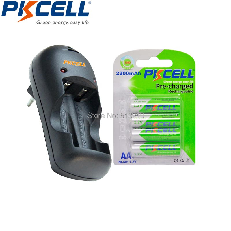 4Pcs PKCELL Pre-charged 2A Rechargeable Battery and 2slot US Plug Charger LED Lights For 1-2pcs AA/AAA NIMH/NICD Batteries