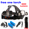 CREE LED Headlamp 8000 Lumens Head lamp T6 3 LED Headlight head torch led flashlight 18650 Rechargeable Battery