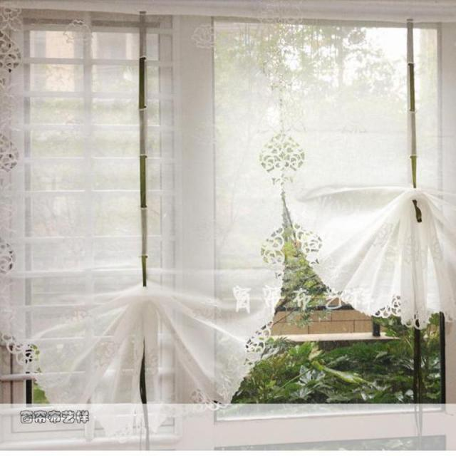 Beautiful white balloon curtains yarn embroidery window cortinas living room curtains sheer for Balloon curtains for living room
