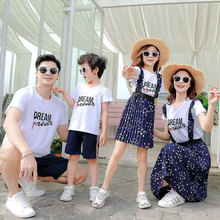 92b03801c Summer Family Matching Outfits Mother Daughter Strap Floral Dresses Dad Son  T-shirt+Shorts