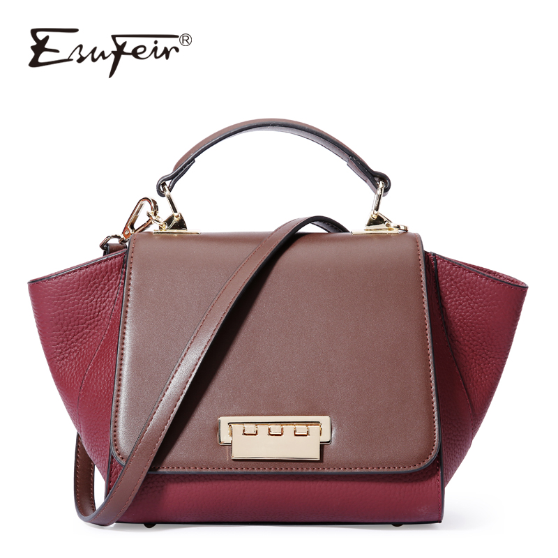 ESUFEIR Genuine Leather handbag for women Fashion Brand designer Shoulder Bags Cow Leather Crossbody Bag Ladies Trapeze Tote Bag esufeir brand genuine leather women handbag cow leather patchwork shoulder bag fashion women messenger bag tote bags sac a main