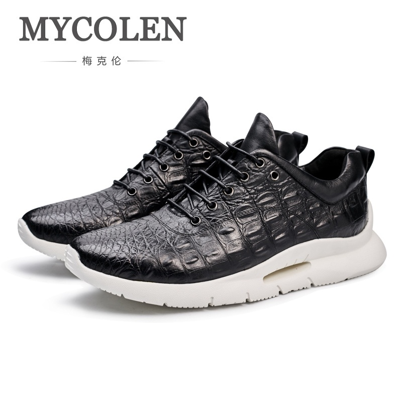MYCOLEN Winter Leather Men Shoes New Fashion Comfortable Men Casual Shoes Flats High Quality Lace Up Sneakers Soulier Homme 2018 new fashion high top canvas shoes men stitching leather men s casual shoes lace up flats comfortable soft footwear