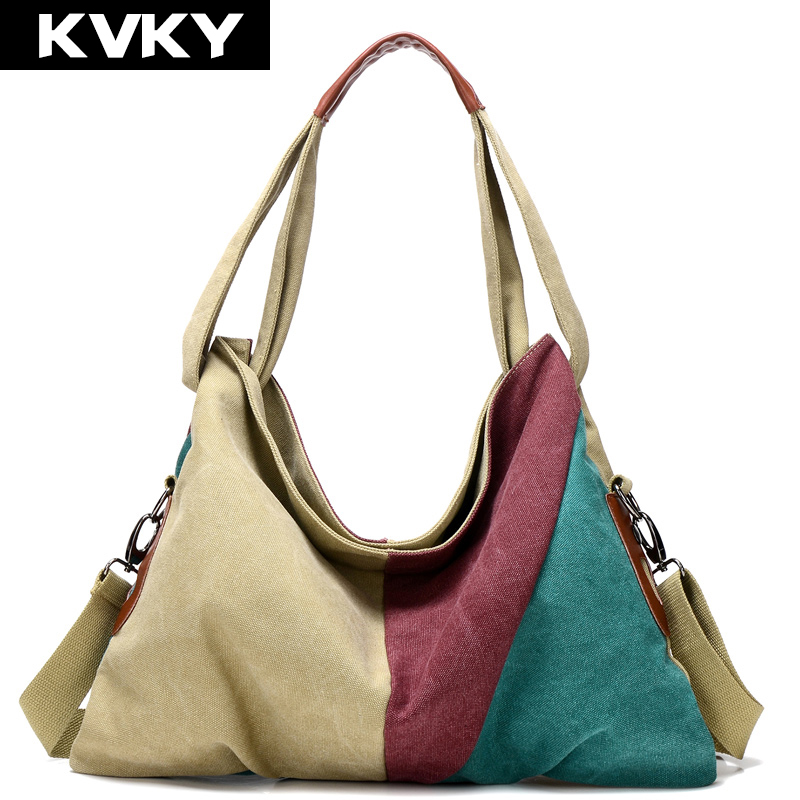 KVKY New Vintage Patchwork Women Handbag Hot Sale Canvas Shoulder Bag Fashion Messenger Crossbody Bag Casual Shopping bags Tote new arrival messenger bags fashion rabbit fair for women casual handbag bag solid crossbody woman bags free shipping m9070